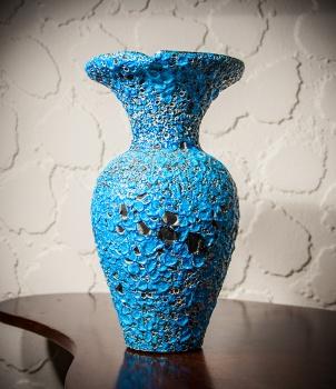 Fat Lava vase, blue, West German